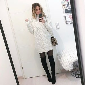 acd5fd4478 Zara Sweaters - Zara Ivory White Cable Knit Sweater Mini Dress
